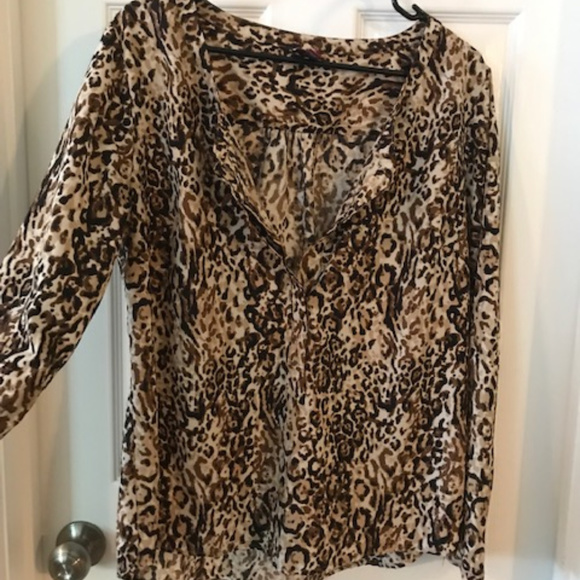 Merona Tops - Long Sleeve Leopard Blouse - large